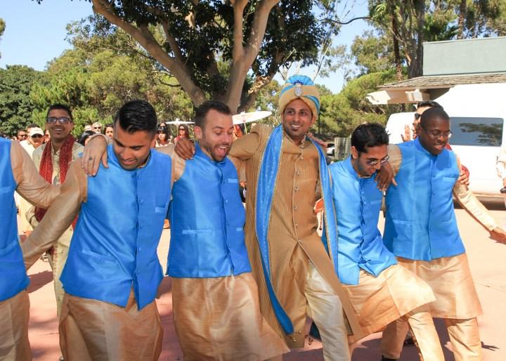 Ashmi-Suraj-Indian-wedding-mandap-varmala-San-Diego-groom-groomsmen