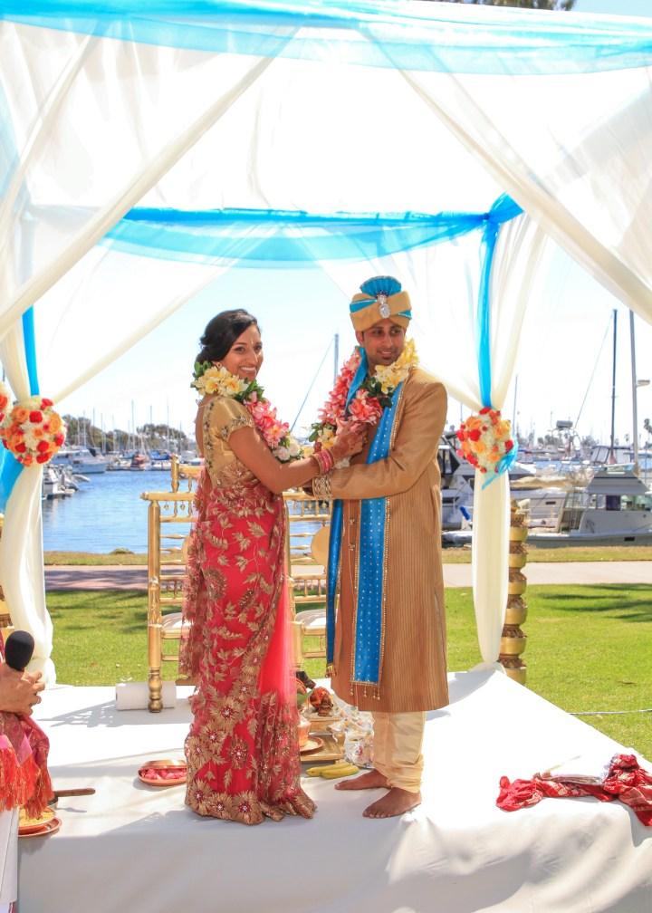 Ashmi-Suraj-Indian-wedding-mandap-varmala-San-Diego