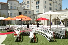 These white resin chairs come with your wedding ceremony package on the Patio.