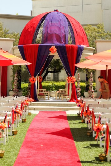 Your decorator can get creative with the gazebo. Some couples decorate the dome; others don't. Photo