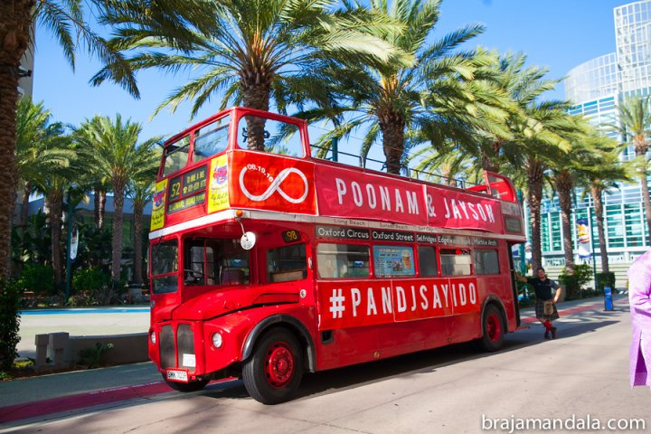 Double decker bus for the baraat at an Indian wedding at the Hilton Anaheim.