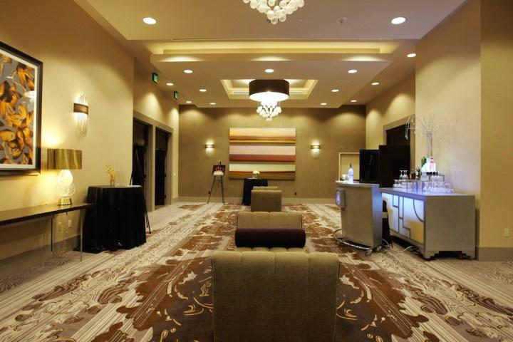 Ballroom foyer at the Hilton Anaheim setup for cocktail hour.