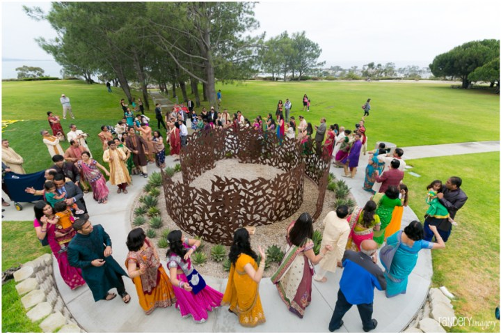 Aerial view of Indian wedding baraat at Laguna Cliffs Marriott