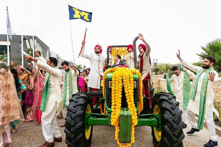 Tractor baraat at Sikh wedding