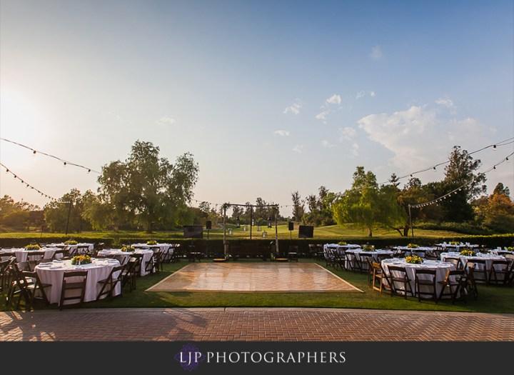 An outdoor wedding reception at the Oak Creek Golf Club in Irvine.