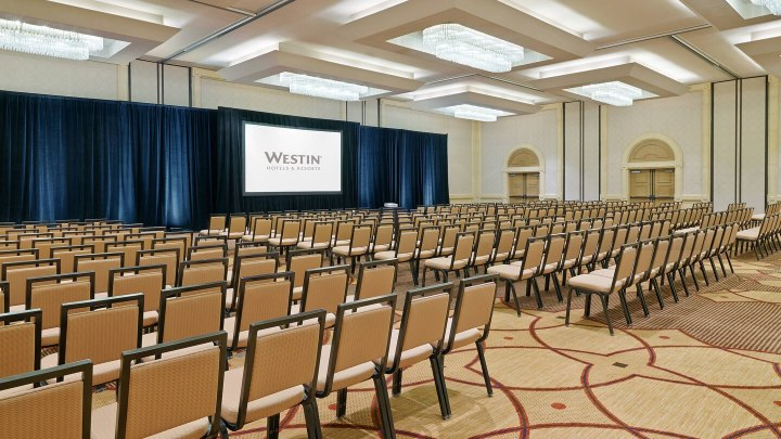 Banquet chairs setup theater style at a Westin hotel in the ballroom