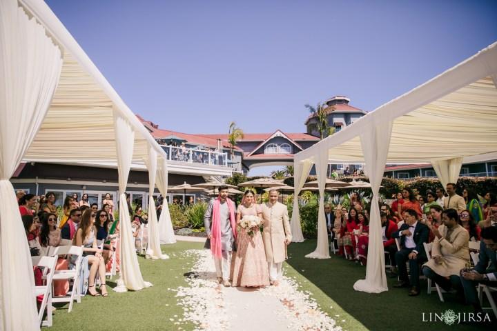 Indian bride walking down aisle