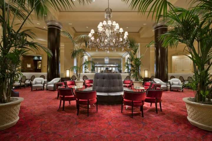 The luxurious lobby at the Fairmont San Jose.
