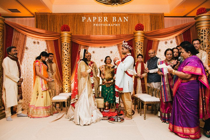Indian wedding ceremony in the Tuscany Ballroom at the Doubletree Suites Anaheim.