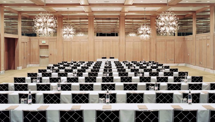 The ballroom at Parker Palm Springs set up classroom style.