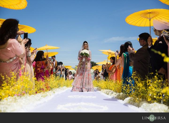 Bride walking down the aisle at an Indian wedding in Santa Barbara