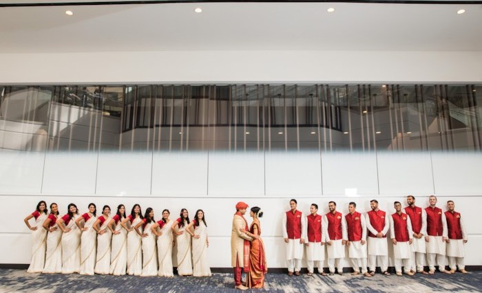 Bridesmaids and groomsmen Indian wedding Hyatt Regency San Francisco Airport