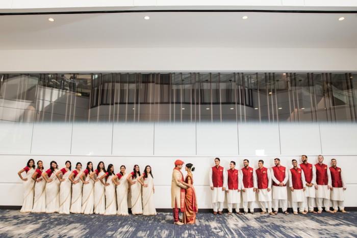 Bridesmaids and groomsmen Indian wedding Hyatt Regency San Francisco Airport