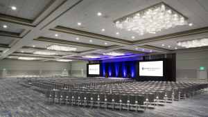 Hyatt Regency San Francisco Airport theater style with the hotel's banquet chairs
