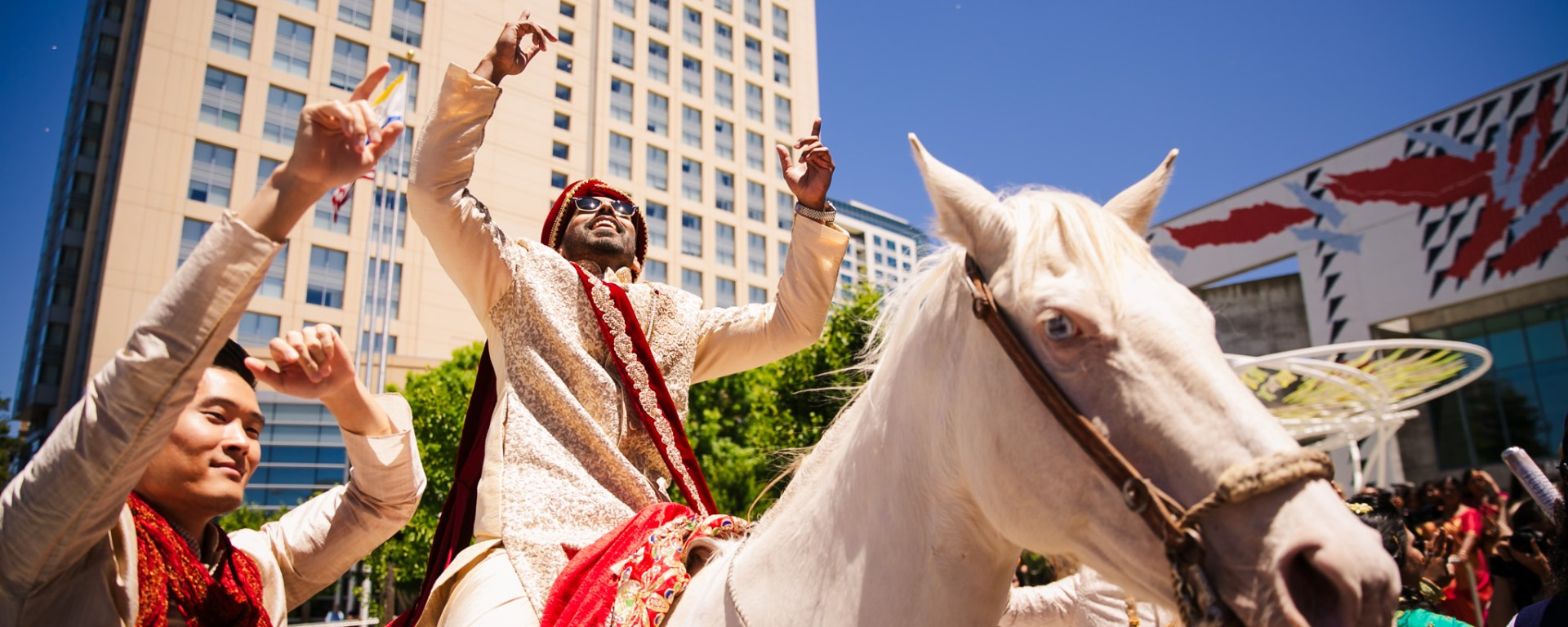 Indian wedding baraat at the the San Jose Marriott