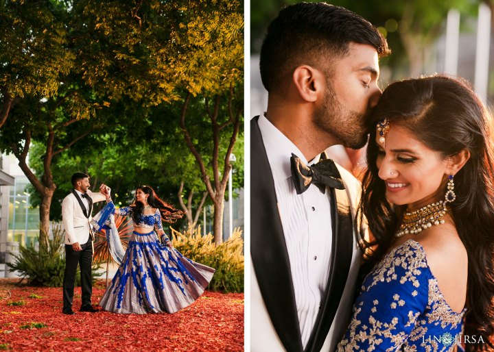 Indian couple romantic photo dressed up for their wedding reception