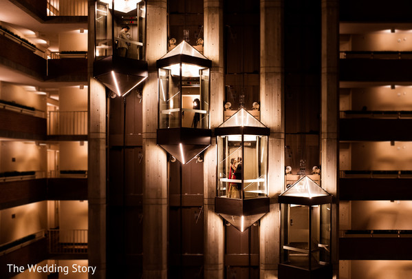 Indian wedding romantic photo in the elevator at the Hyatt Regency Cambridge