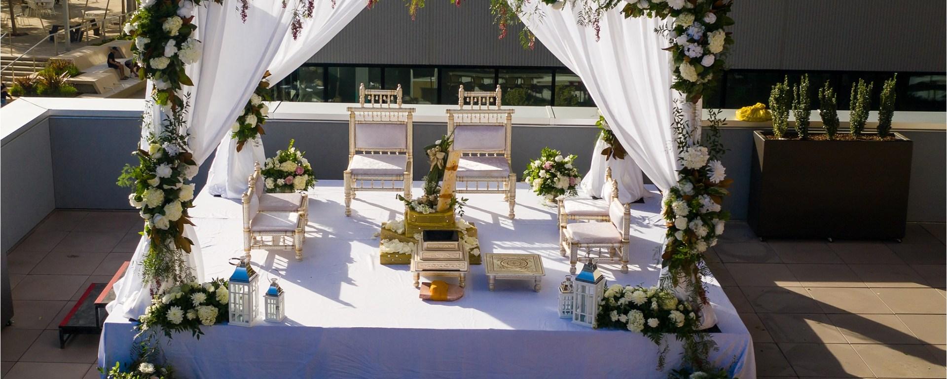 Mandap for an Indian wedding at Sawyer Hotel