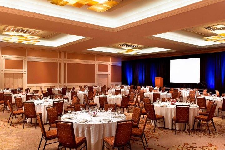 Banquet setup in a ballroom