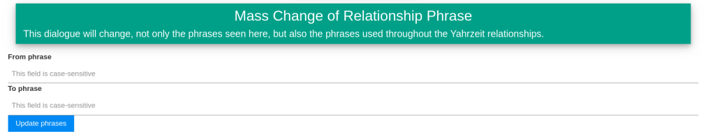Mass change for relationship phrases