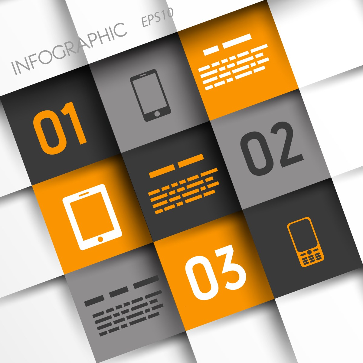 orange and grey infographic squares with mobile icons. infographic concept.