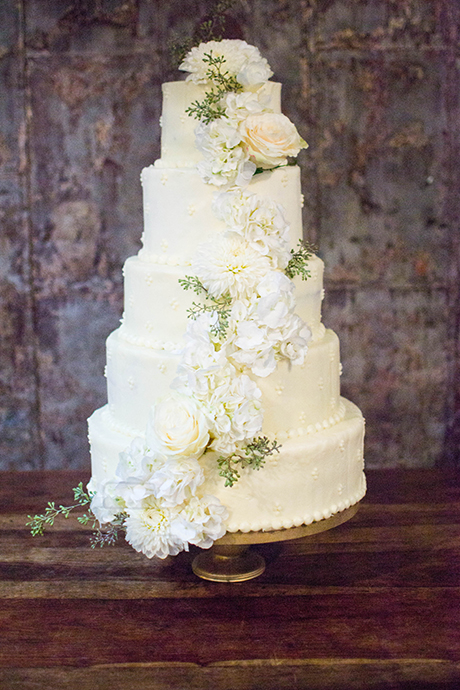 White floral 5-tiered wedding cake.