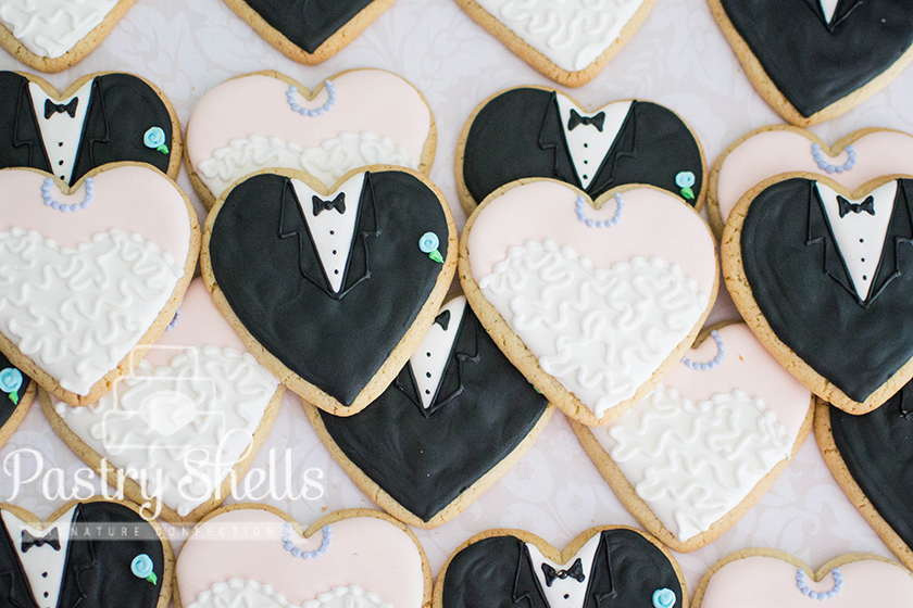 Bride & Groom wedding heart-shaped Cookies from Pastry Shells