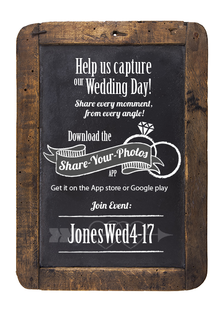 chalkboard with details on downloading the Share-Your-Photos App at a wedding and the event ID.