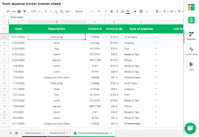 In this version you can track your monthly expenses and categories for each expense, on individual tabs (1 per month), and view the totals / trends for the entire year on the dashboard tab. Expense Tracker Template In Google Sheets Sheetgo Blog