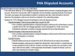 FHA :Treatment of Disputed Accounts