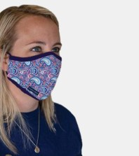 Woman wearing blue, pink, and purple Simply Southern Face Mask