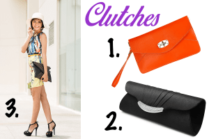 Set of three orange, black and envelope pattern clutch for women.