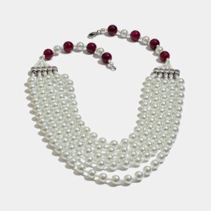Multi-strand layered necklace.