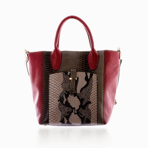 Snake print tote with red accents.