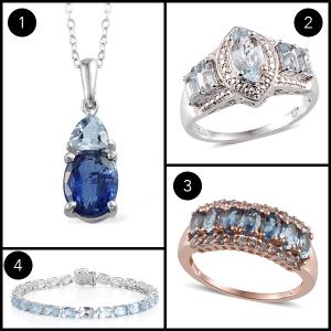 Selection of aquamarine jewelry.