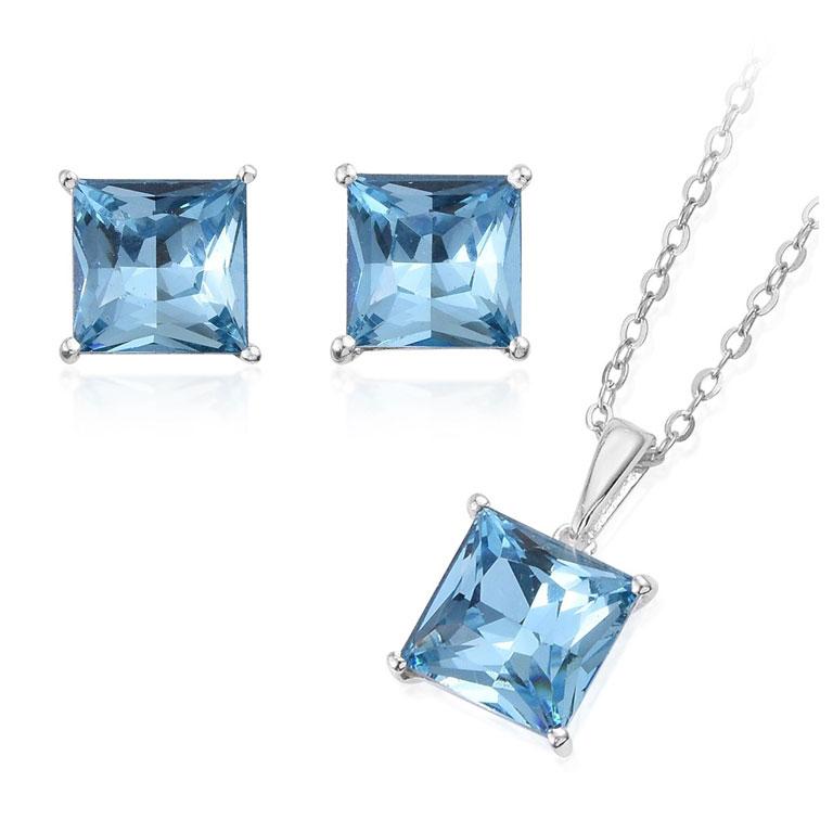 Blue bridal jewelry in aquamarine.