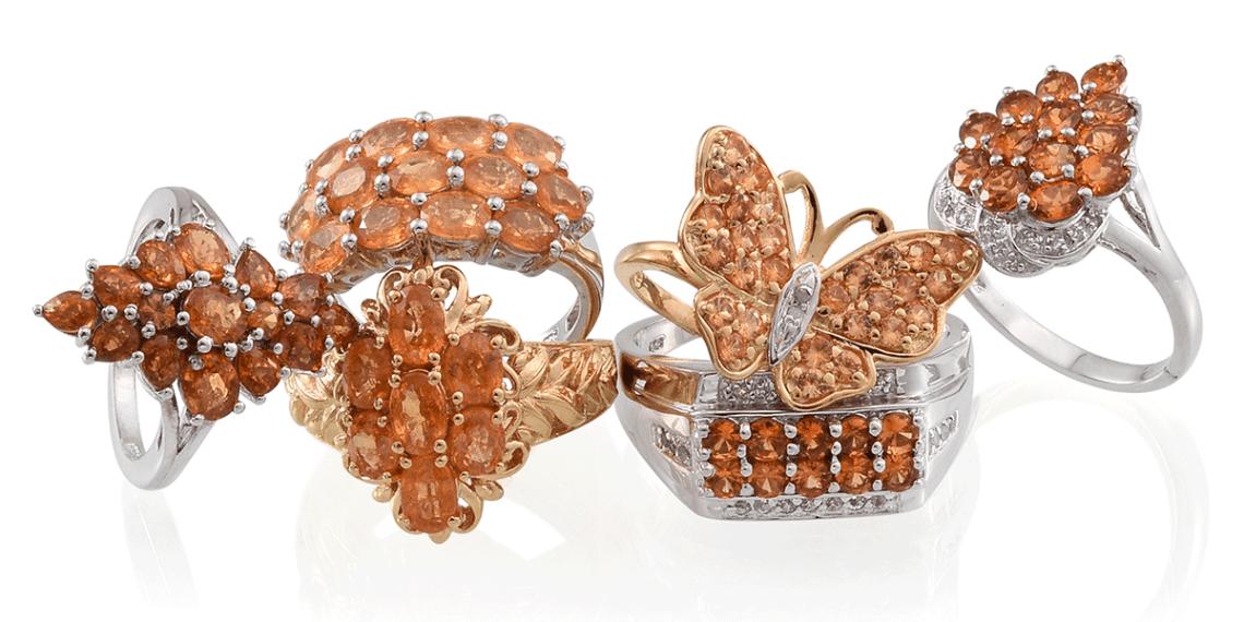 Spessertine garnet jewelry.