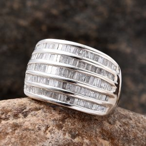 Diamond cocktail ring in sterling silver with platinum finish.