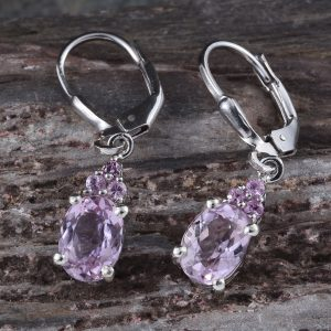 Kunzite leverback earrings