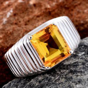 Sphaleros quartz men's ring in sterling silver.