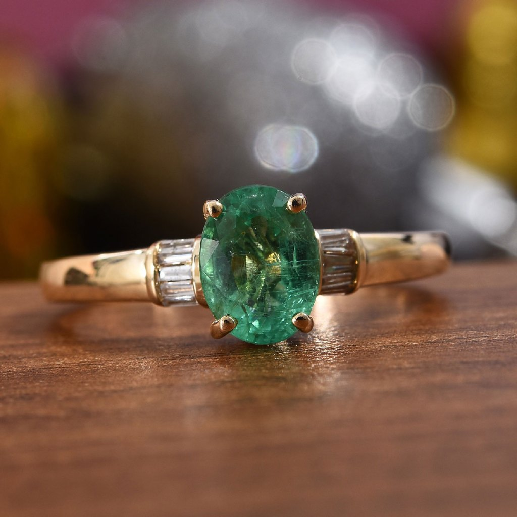 AAA Premium Boyaca Colombian Emerald, Diamond Ring in 14K Yellow Gold