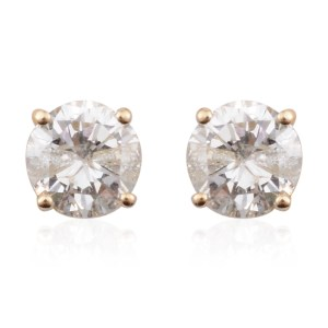 Round brilliant diamond earrings in 14 carat gold.