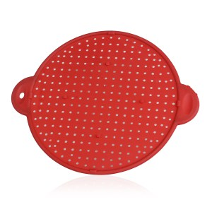 A five-in-one device that is a strainer, steamer, trivet, splatter guard, and oven guard.