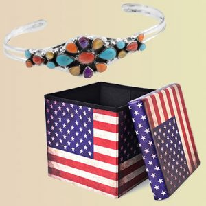 A southwestern style bangle and American flag box.