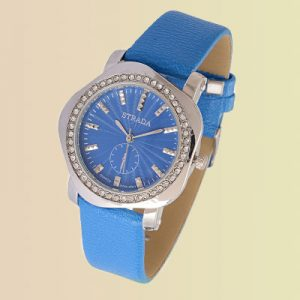 A watch with a blue face and blue band.