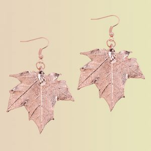 Dipped metal leaf earrings.