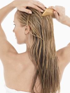 Combing wet hair.