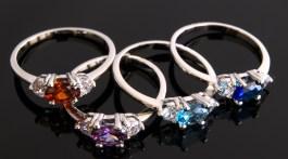 Rings featuring birthstones