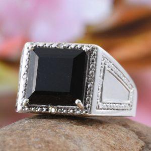 Black tourmaline men's ring.