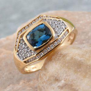 London blue topaz and gold men's ring.
